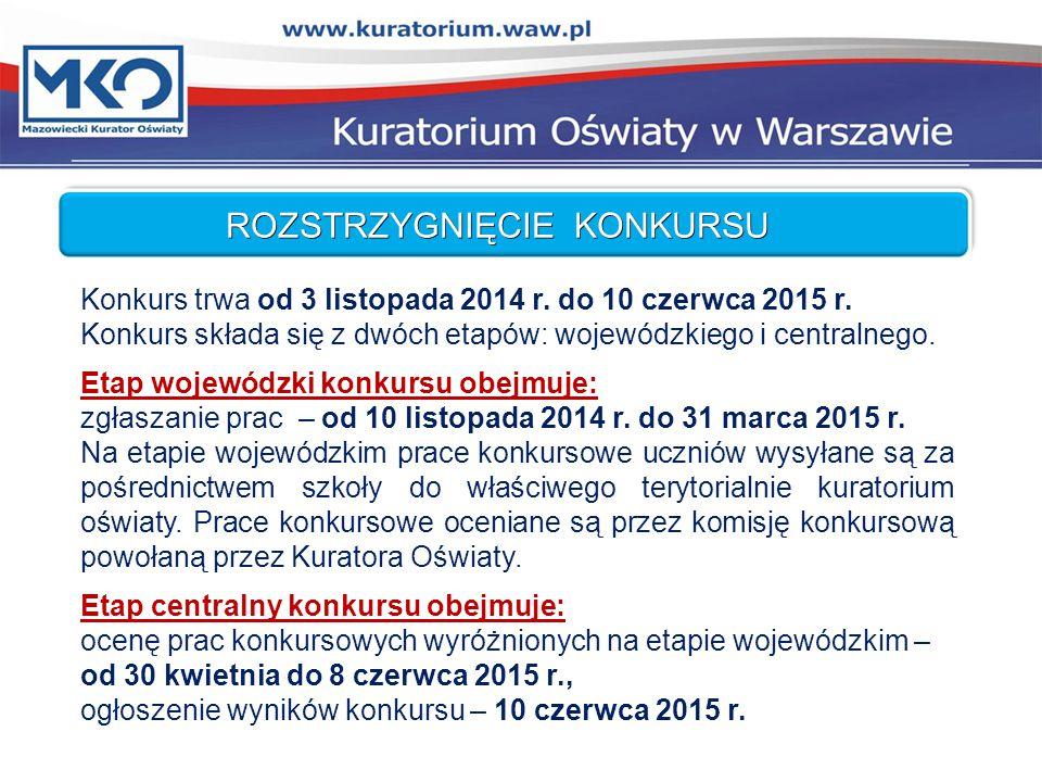 ROZSTRZYGNIĘCIE KONKURSU Konkurs trwa od 3 listopada 2014 r.