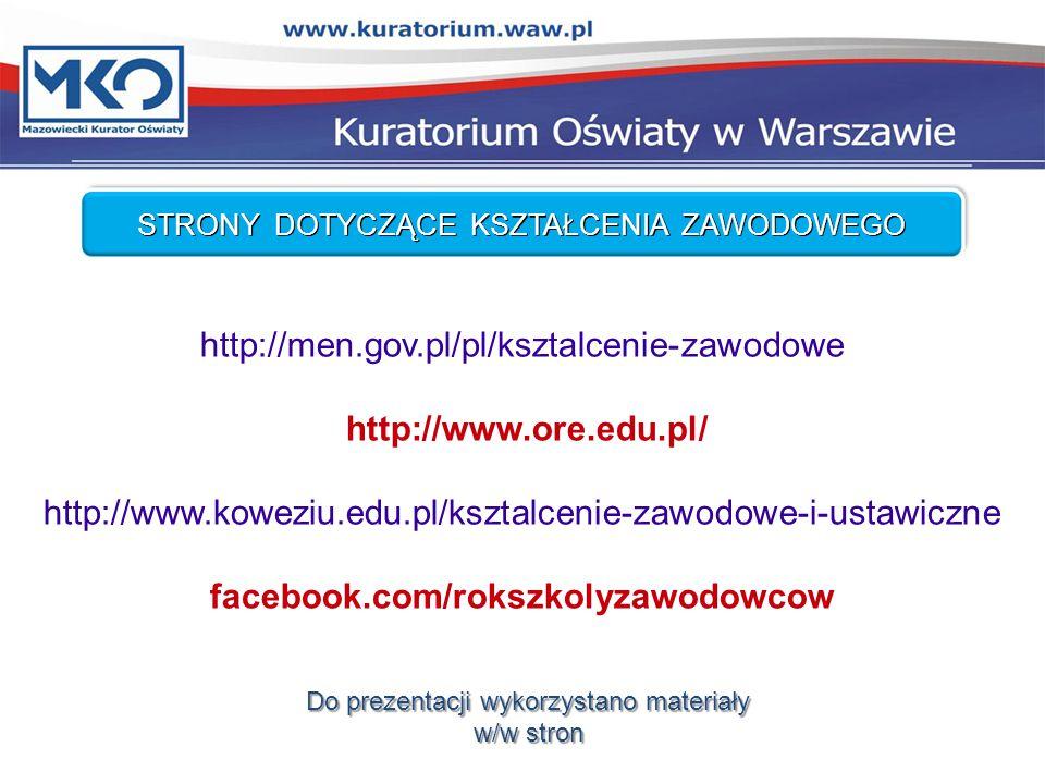 STRONY DOTYCZĄCE KSZTAŁCENIA ZAWODOWEGO http://men.gov.pl/pl/ksztalcenie-zawodowe http://www.ore.edu.pl/ http://www.koweziu.edu.pl/ksztalcenie-zawodowe-i-ustawiczne facebook.com/rokszkolyzawodowcow Do prezentacji wykorzystano materiały w/w stron