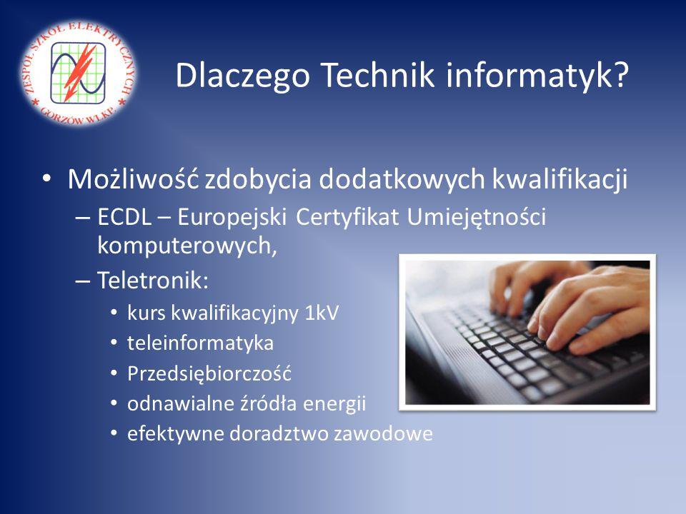 Dlaczego Technik informatyk? Możliwość zdobycia dodatkowych kwalifikacji – ECDL – Europejski Certyfikat Umiejętności komputerowych, – Teletronik: kurs