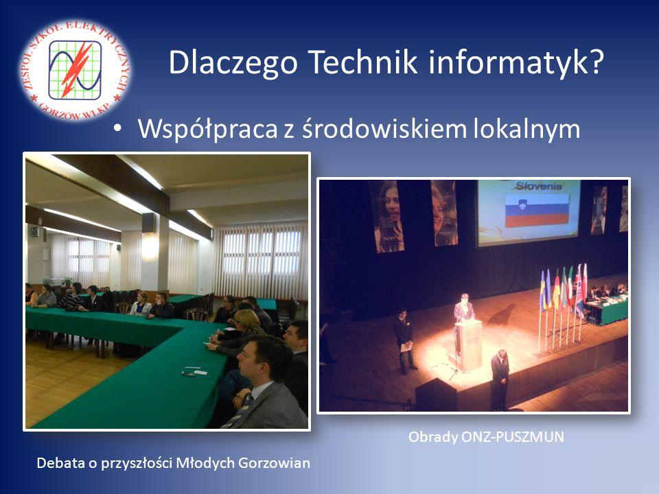 Dlaczego Technik informatyk? Współpraca z środowiskiem lokalnym Debata o przyszłości Młodych Gorzowian Obrady ONZ-PUSZMUN