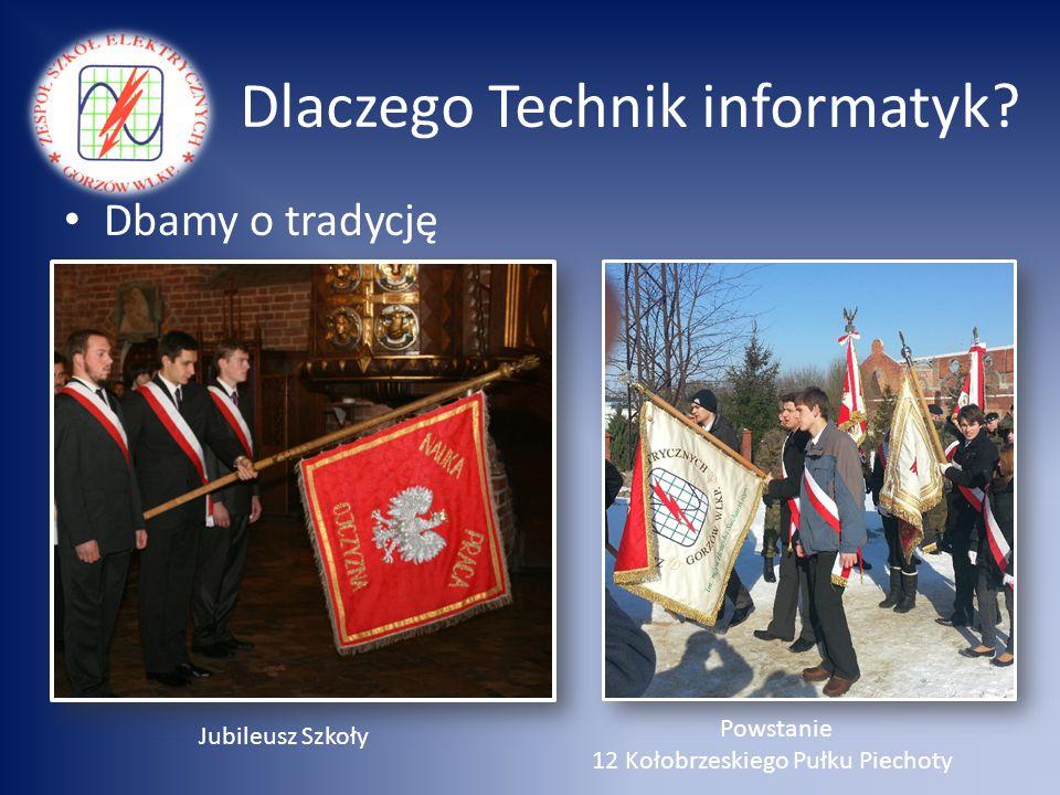 Dlaczego Technik informatyk? Dbamy o tradycję Powstanie 12 Kołobrzeskiego Pułku Piechoty Jubileusz Szkoły