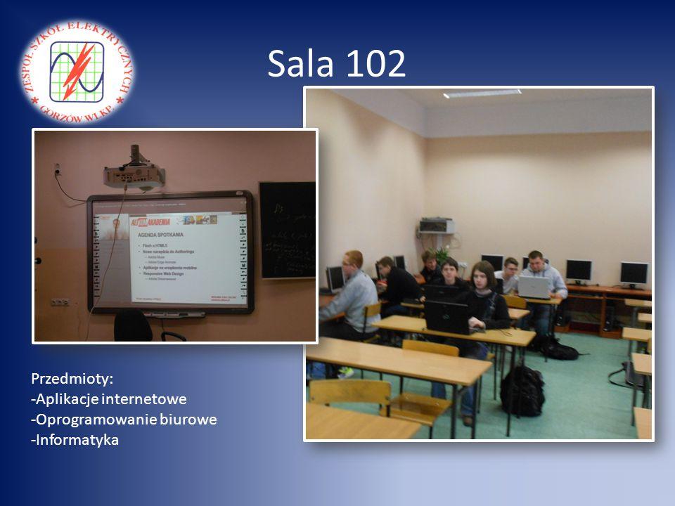 Sala 102 Przedmioty: -Aplikacje internetowe -Oprogramowanie biurowe -Informatyka