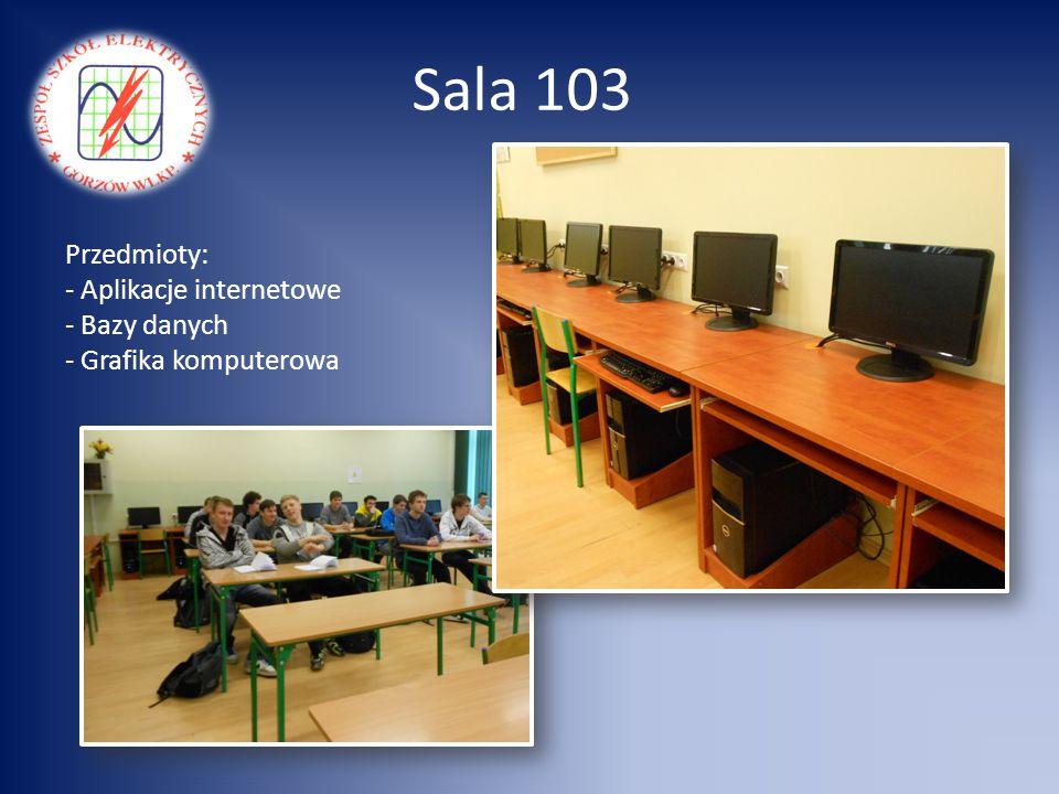 Sala 103 Przedmioty: - Aplikacje internetowe - Bazy danych - Grafika komputerowa