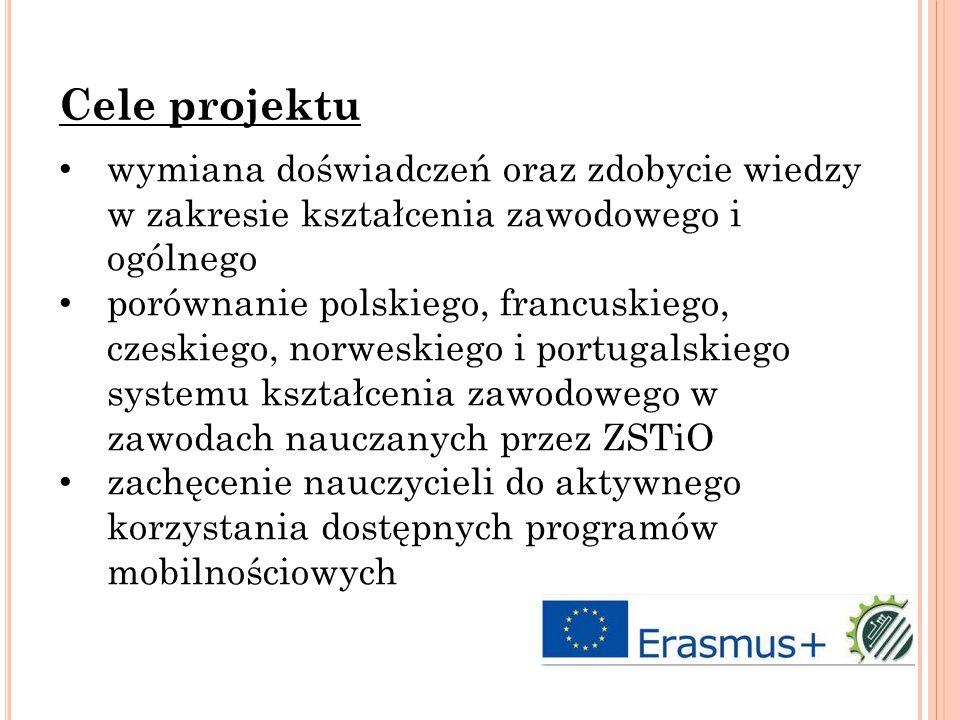 wymiana doświadczeń oraz zdobycie wiedzy w zakresie kształcenia zawodowego i ogólnego porównanie polskiego, francuskiego, czeskiego, norweskiego i portugalskiego systemu kształcenia zawodowego w zawodach nauczanych przez ZSTiO zachęcenie nauczycieli do aktywnego korzystania dostępnych programów mobilnościowych Cele projektu