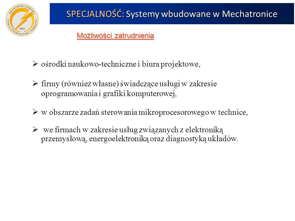 Możliwości zatrudnienia SPECJALNOŚĆ: Systemy wbudowane w Mechatronice  ośrodki naukowo-techniczne i biura projektowe,  firmy (również własne) świadczące usługi w zakresie oprogramowania i grafiki komputerowej,  w obszarze zadań sterowania mikroprocesorowego w technice,  we firmach w zakresie usług związanych z elektroniką przemysłową, energoelektroniką oraz diagnostyką układów.