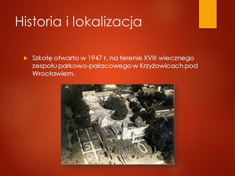 Historia i lokalizacja  Szkołę otwarto w 1947 r.