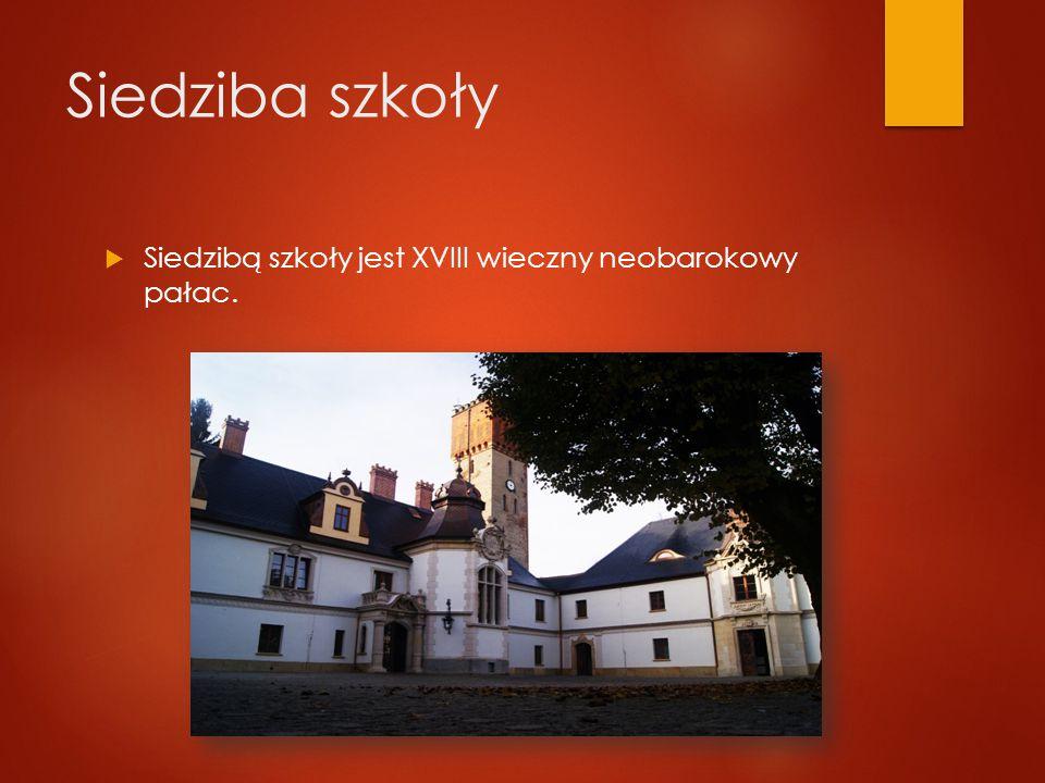 Siedziba szkoły  Siedzibą szkoły jest XVIII wieczny neobarokowy pałac.