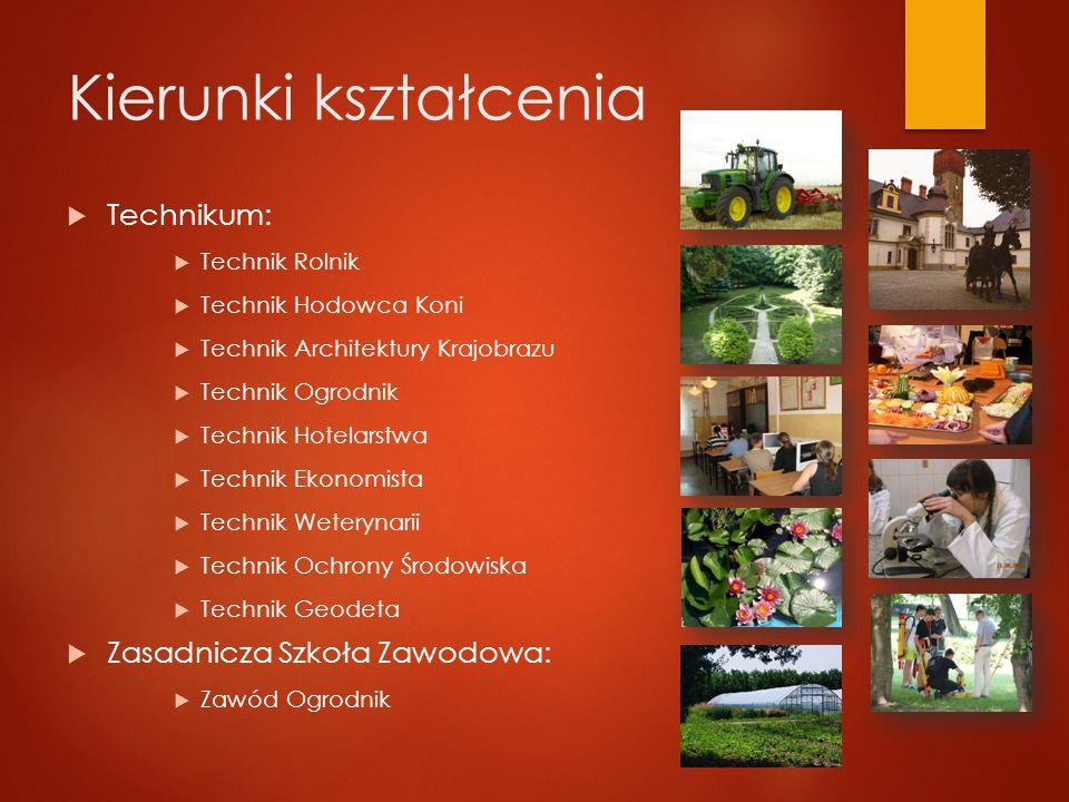 Baza dydaktyczna  Powiatowy Zespół Szkół Nr 1 w Krzyżowicach dysponuje:  Laboratorium analitycznym  Stadniną koni  Ogrodem ze szklarniami  Nowoczesnymi salami dydaktycznymi  Jedną z najlepiej wyposażonych pracowni geodezyjnych w Polsce  Bogatym parkiem maszynowym
