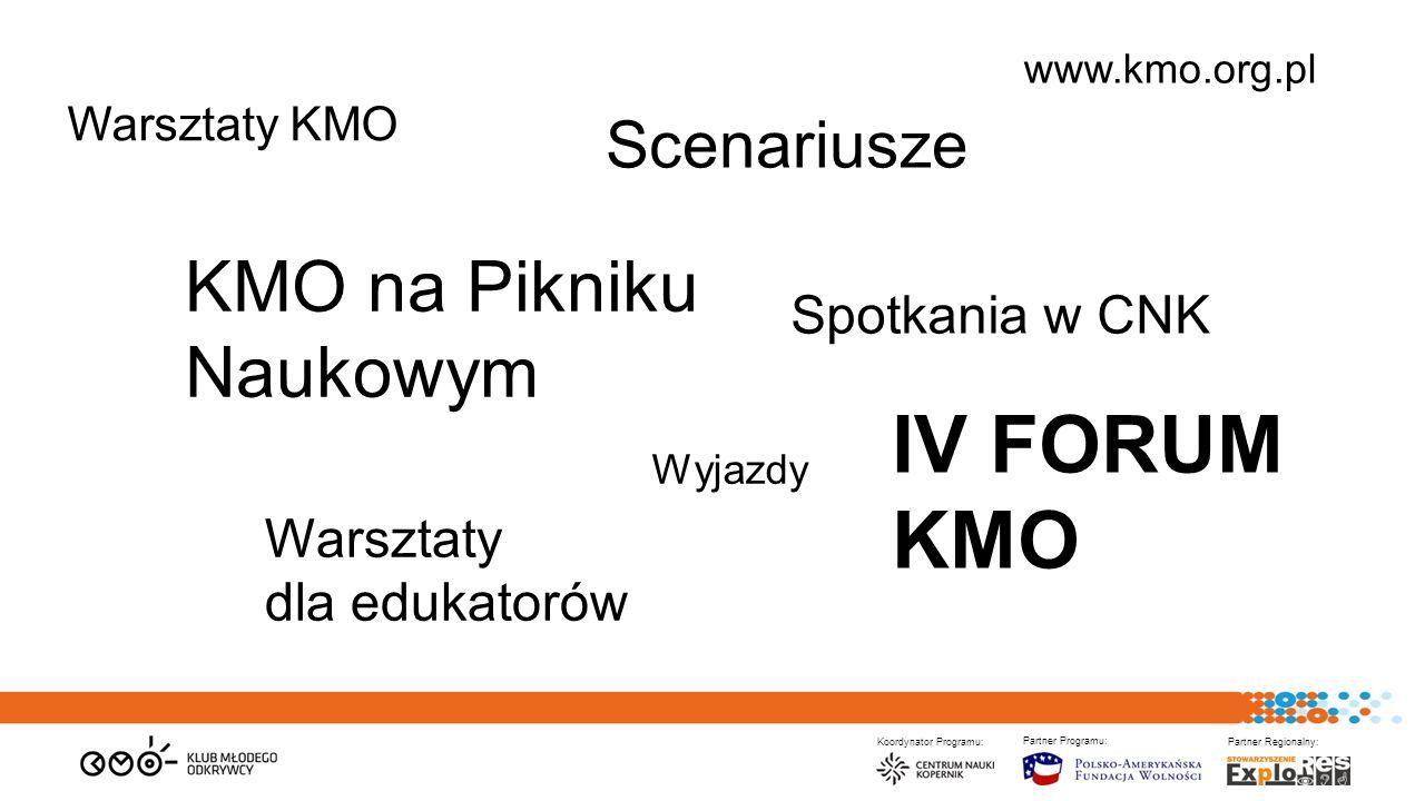 Koordynator Programu: Partner Programu: Partner Regionalny: Warsztaty KMO KMO na Pikniku Naukowym Warsztaty dla edukatorów IV FORUM KMO Wyjazdy Scenariusze www.kmo.org.pl Spotkania w CNK
