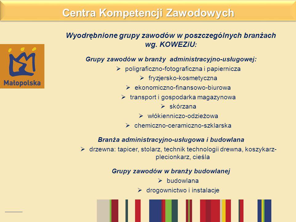 Wyodrębnione grupy zawodów w poszczególnych branżach wg. KOWEZiU : Grupy zawodów w branży administracyjno-usługowej:  poligraficzno-fotograficzna i p
