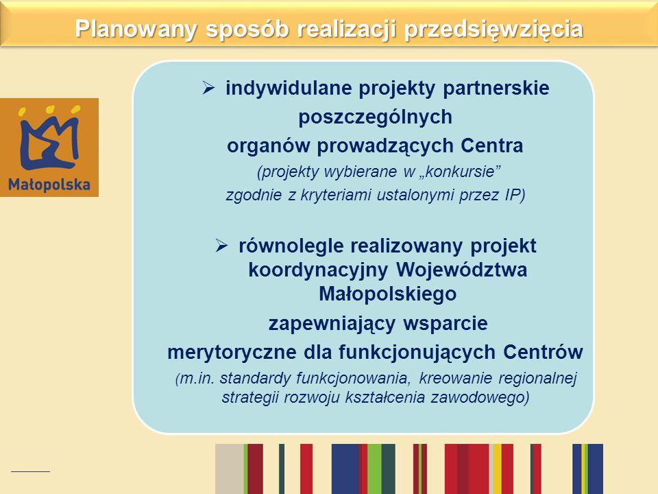 """ indywidulane projekty partnerskie poszczególnych organów prowadzących Centra (projekty wybierane w """"konkursie"""" zgodnie z kryteriami ustalonymi przez"""