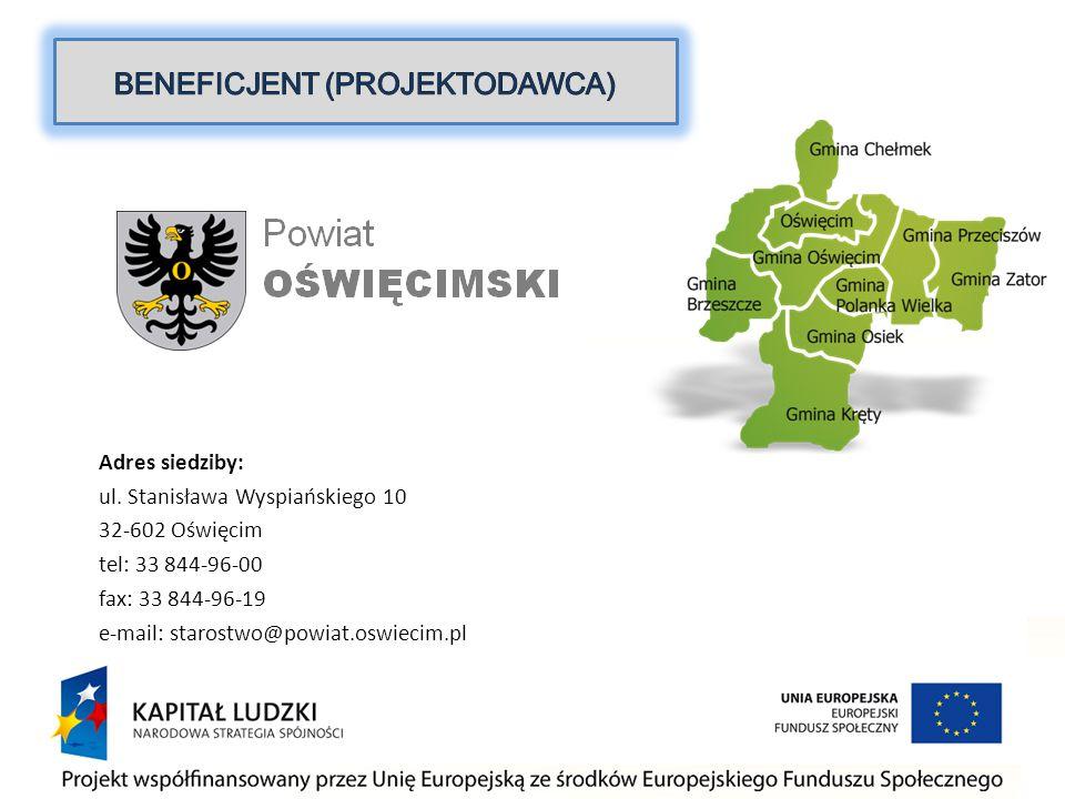 Adres siedziby: ul. Stanisława Wyspiańskiego 10 32-602 Oświęcim tel: 33 844-96-00 fax: 33 844-96-19 e-mail: starostwo@powiat.oswiecim.pl