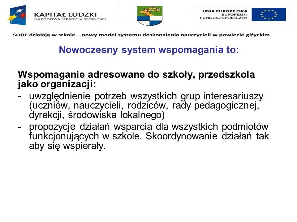 Nowoczesny system wspomagania to: Kompleksowość i interdyscyplinarność wsparcia: -Integracja potencjału wszystkich instytucji wspomagających szkołę i standaryzacja świadczonych usług.