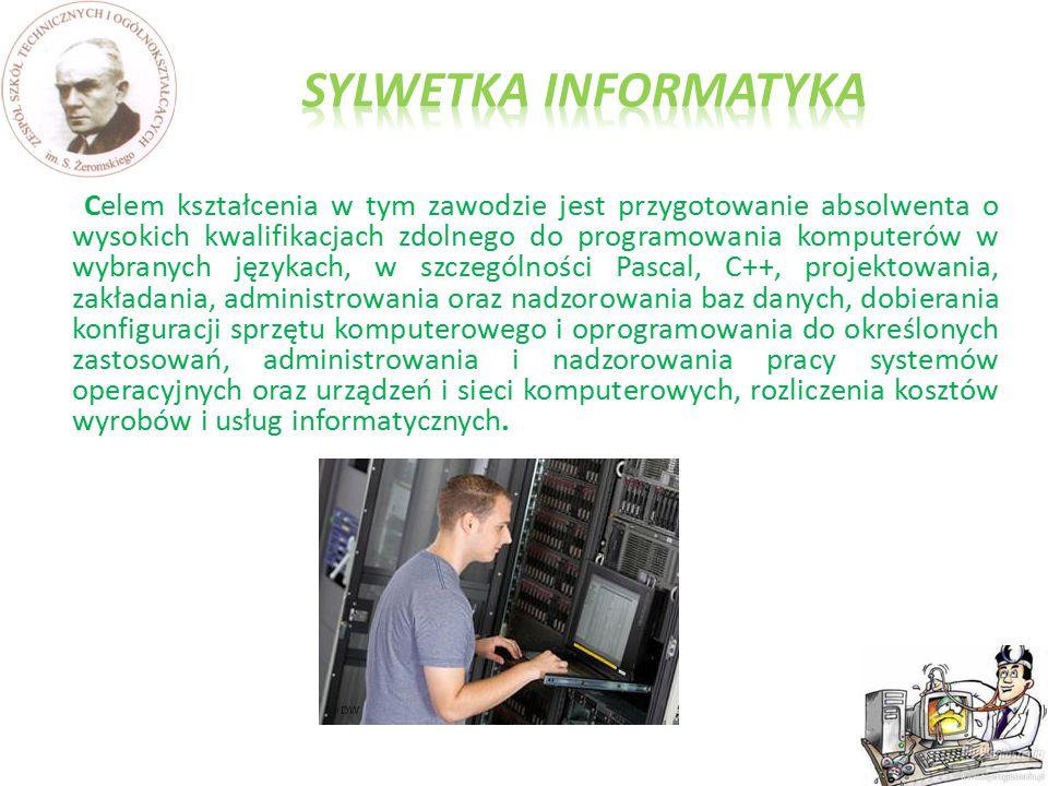 Celem kształcenia w tym zawodzie jest przygotowanie absolwenta o wysokich kwalifikacjach zdolnego do programowania komputerów w wybranych językach, w