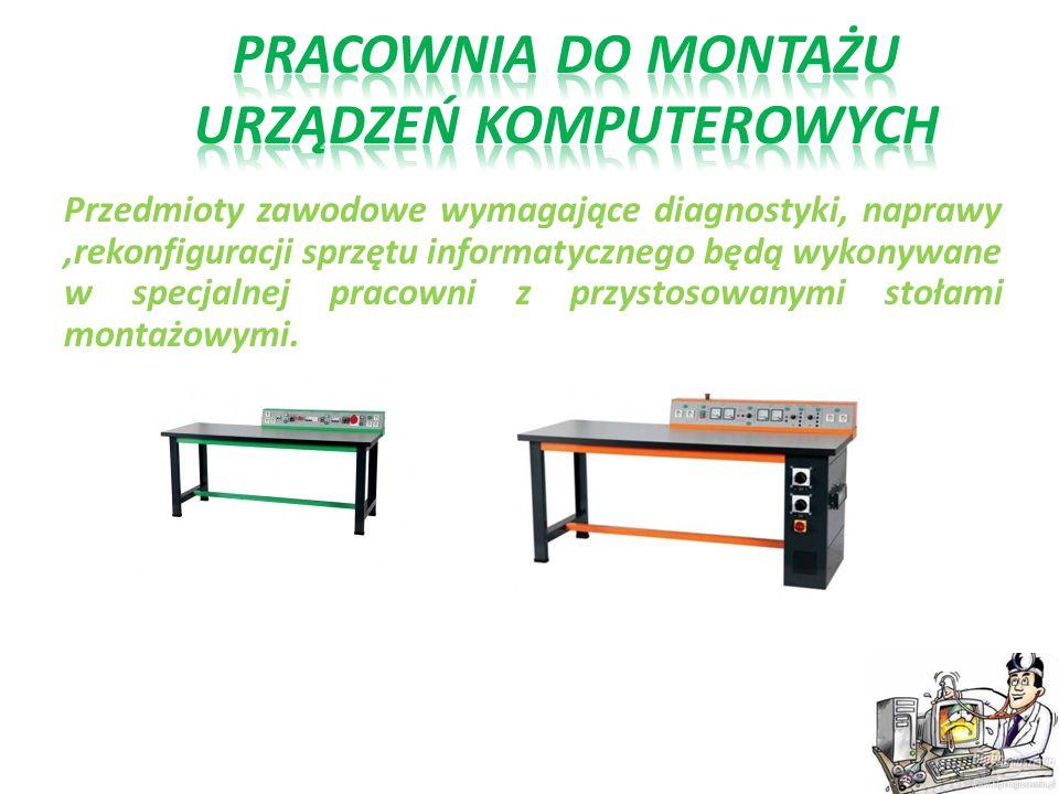 Przedmioty zawodowe wymagające diagnostyki, naprawy,rekonfiguracji sprzętu informatycznego będą wykonywane w specjalnej pracowni z przystosowanymi sto