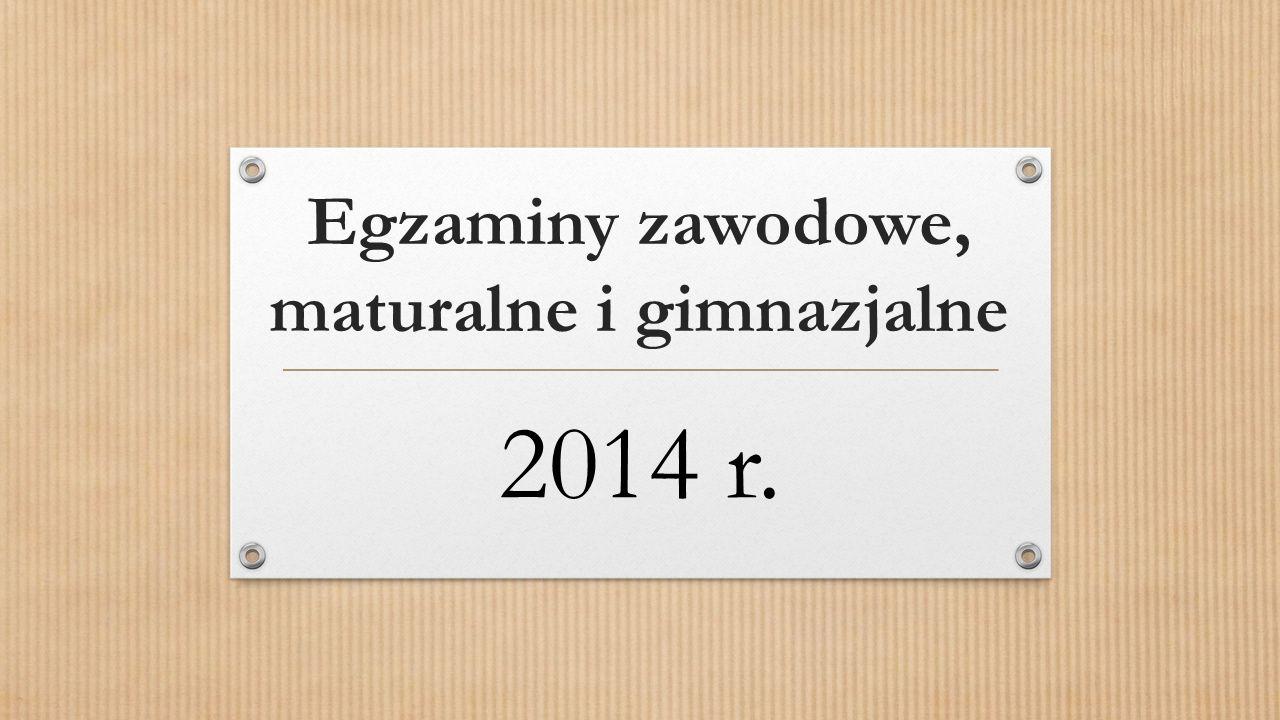 Egzaminy zawodowe, maturalne i gimnazjalne 2014 r.