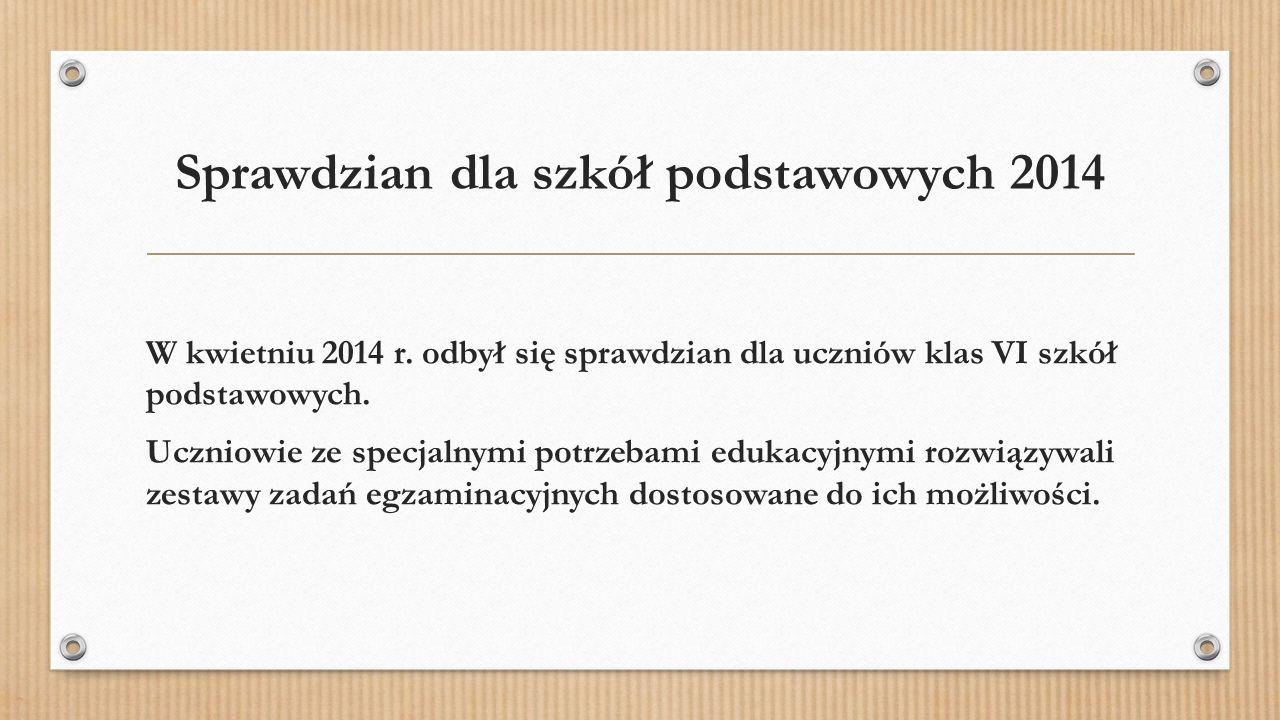 Sprawdzian dla szkół podstawowych 2014 W kwietniu 2014 r.