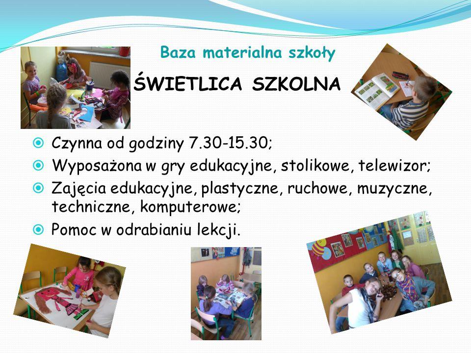 Baza materialna szkoły ŚWIETLICA SZKOLNA  Czynna od godziny 7.30-15.30;  Wyposażona w gry edukacyjne, stolikowe, telewizor;  Zajęcia edukacyjne, pl