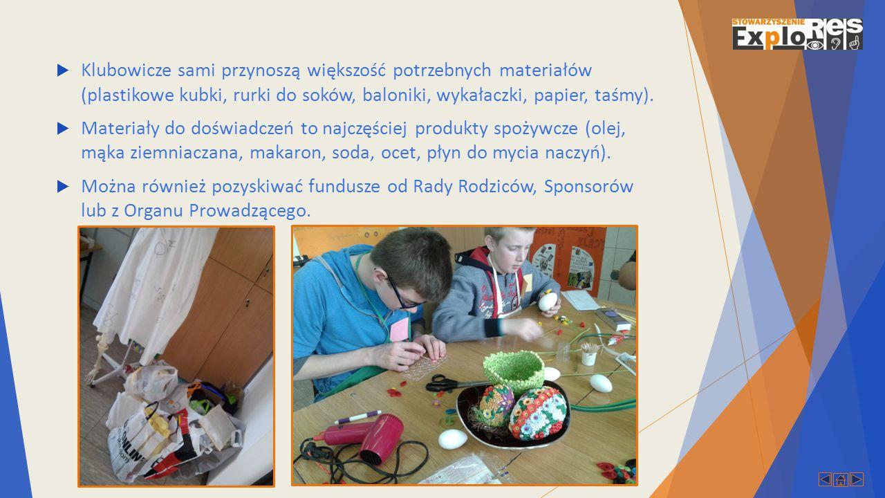  Klubowicze sami przynoszą większość potrzebnych materiałów (plastikowe kubki, rurki do soków, baloniki, wykałaczki, papier, taśmy).
