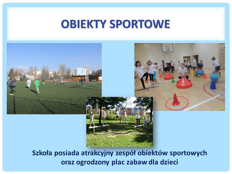 OBIEKTY SPORTOWE Szkoła posiada atrakcyjny zespół obiektów sportowych oraz ogrodzony plac zabaw dla dzieci