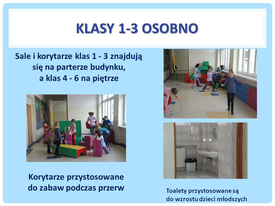 KLASY 1-3 OSOBNO Sale i korytarze klas 1 - 3 znajdują się na parterze budynku, a klas 4 - 6 na piętrze Korytarze przystosowane do zabaw podczas przerw Toalety przystosowane są do wzrostu dzieci młodszych