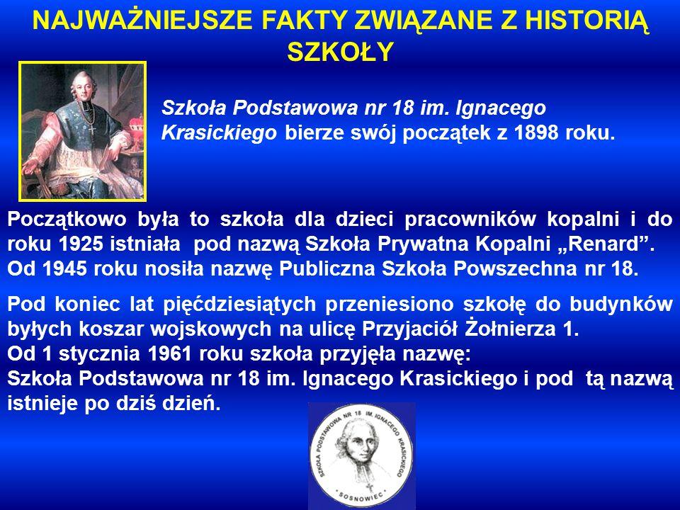 Szkoła Podstawowa nr 18 im. Ignacego Krasickiego bierze swój początek z 1898 roku.