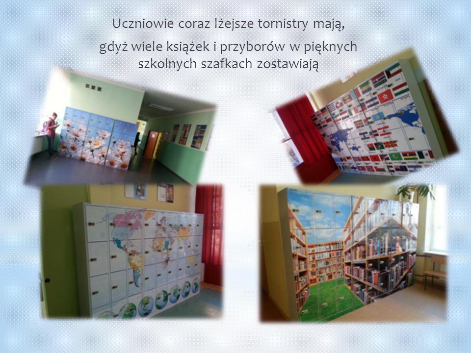 Uczniowie coraz lżejsze tornistry mają, gdyż wiele książek i przyborów w pięknych szkolnych szafkach zostawiają