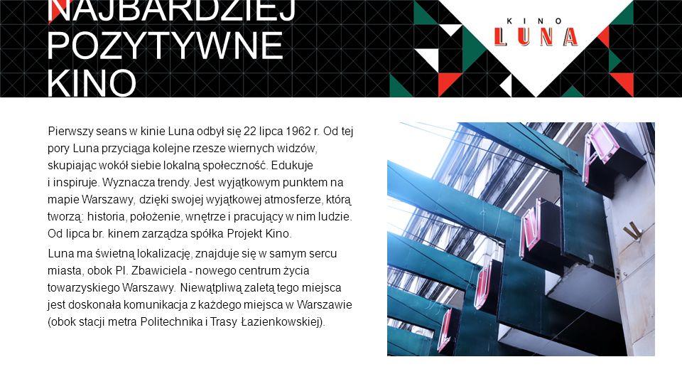 Kino Luna jest kinem studyjnym, inicjującym projekty artystyczne, integrującym środowiska artystyczne oraz promującym kulturę niekomercyjną.