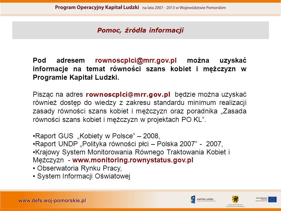 Pomoc, źródła informacji Pod adresem rownoscplci@mrr.gov.pl można uzyskać informacje na temat równości szans kobiet i mężczyzn w Programie Kapitał Lud