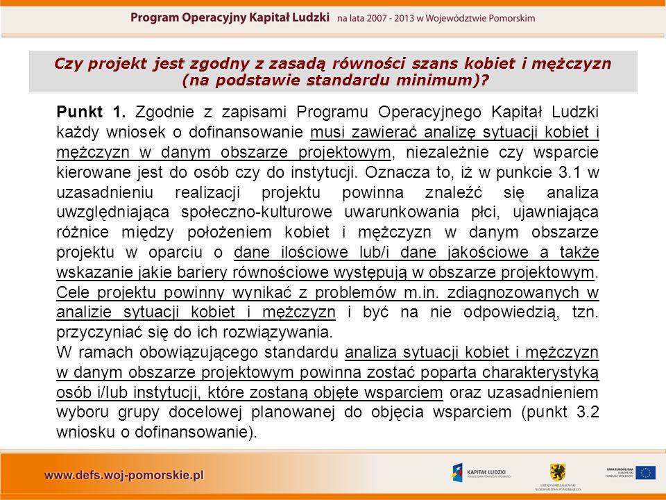 Punkt 1. Zgodnie z zapisami Programu Operacyjnego Kapitał Ludzki każdy wniosek o dofinansowanie musi zawierać analizę sytuacji kobiet i mężczyzn w dan