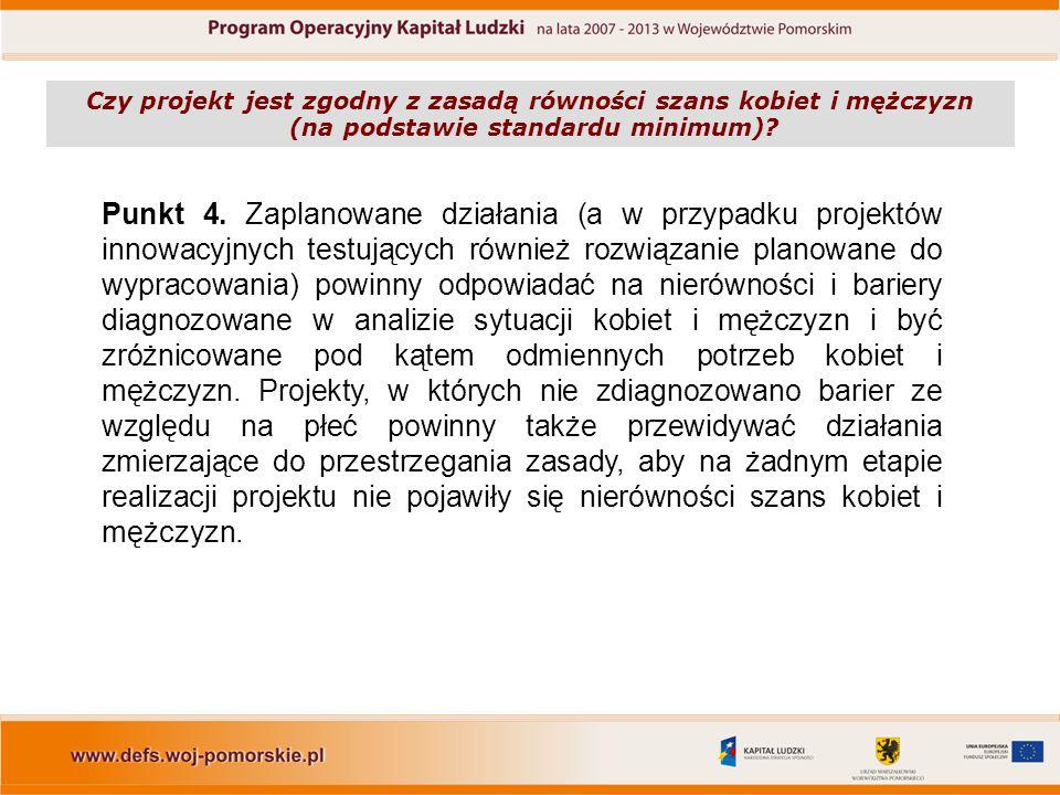 Punkt 4. Zaplanowane działania (a w przypadku projektów innowacyjnych testujących również rozwiązanie planowane do wypracowania) powinny odpowiadać na