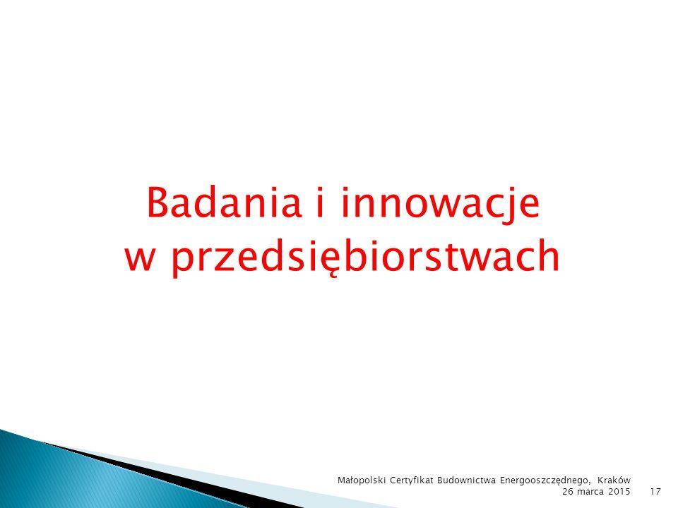 Badania i innowacje w przedsiębiorstwach Małopolski Certyfikat Budownictwa Energooszczędnego, Kraków 26 marca 201517