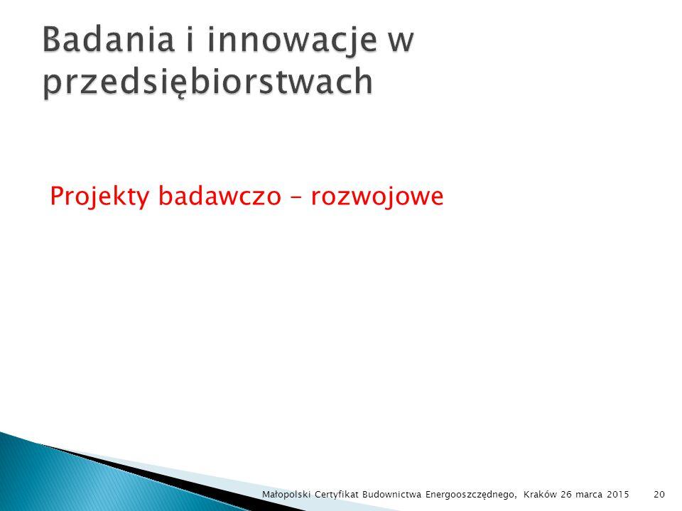 Projekty badawczo – rozwojowe Małopolski Certyfikat Budownictwa Energooszczędnego, Kraków 26 marca 201520