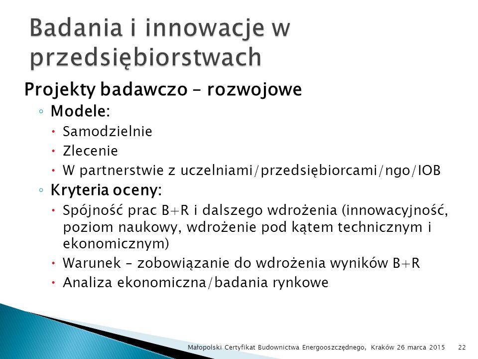 Projekty badawczo – rozwojowe ◦ Modele:  Samodzielnie  Zlecenie  W partnerstwie z uczelniami/przedsiębiorcami/ngo/IOB ◦ Kryteria oceny:  Spójność