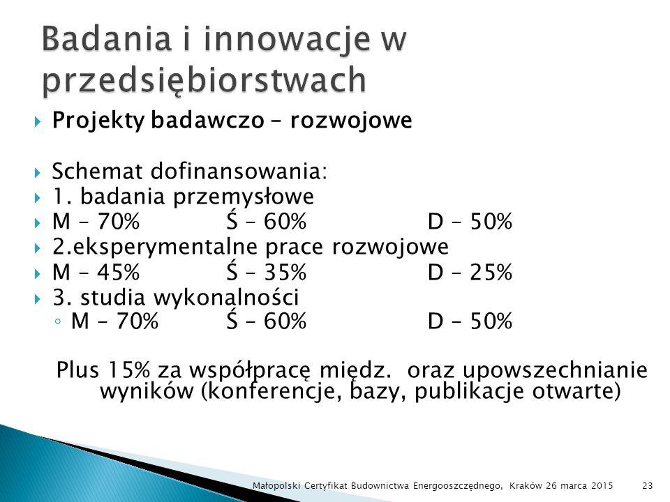  Projekty badawczo – rozwojowe  Schemat dofinansowania:  1. badania przemysłowe  M – 70%Ś – 60%D – 50%  2.eksperymentalne prace rozwojowe  M – 4