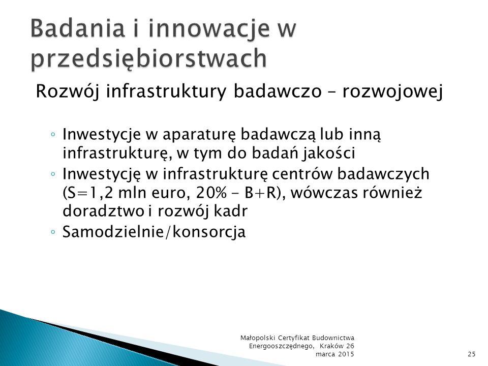 Rozwój infrastruktury badawczo – rozwojowej ◦ Inwestycje w aparaturę badawczą lub inną infrastrukturę, w tym do badań jakości ◦ Inwestycję w infrastru