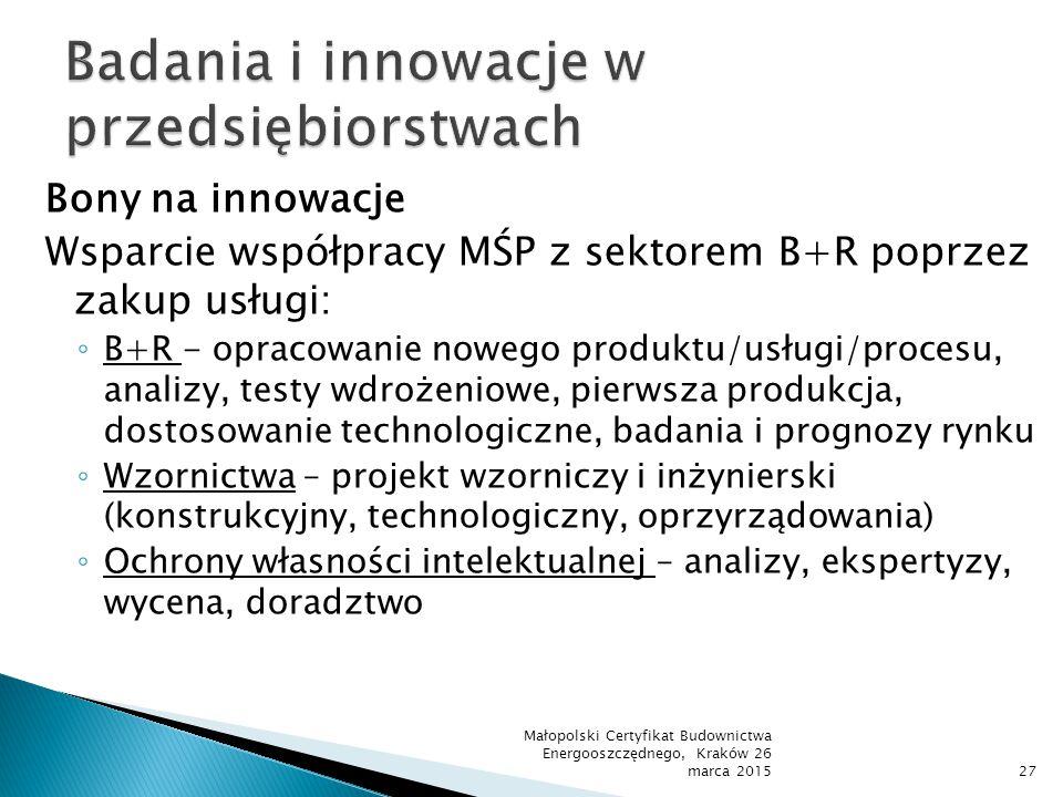 Bony na innowacje Wsparcie współpracy MŚP z sektorem B+R poprzez zakup usługi: ◦ B+R - opracowanie nowego produktu/usługi/procesu, analizy, testy wdro
