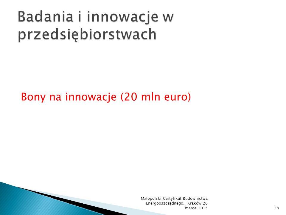 Bony na innowacje (20 mln euro) Małopolski Certyfikat Budownictwa Energooszczędnego, Kraków 26 marca 201528