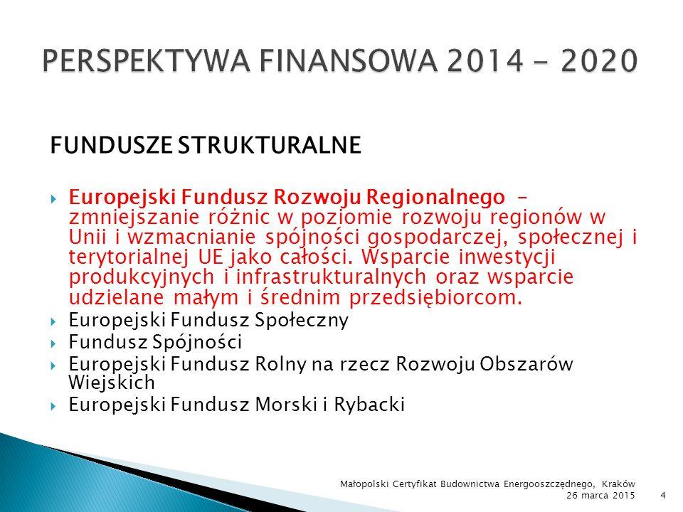 Cel:wspieranie badań naukowych, rozwoju technologicznego i innowacji Priorytety (m.in.)  Wsparcie prowadzenia prac B+R przez przedsiębiorstwa oraz konsorcja naukowo ‐ przemysłowe  Wsparcie innowacji w przedsiębiorstwach  Wsparcie otoczenia i potencjału innowacyjnych przedsiębiorstw Instytucje Zarządzające – Ministerstwo Gospodarki, NCBIR, PARP Małopolski Certyfikat Budownictwa Energooszczędnego, Kraków 26 marca 201515