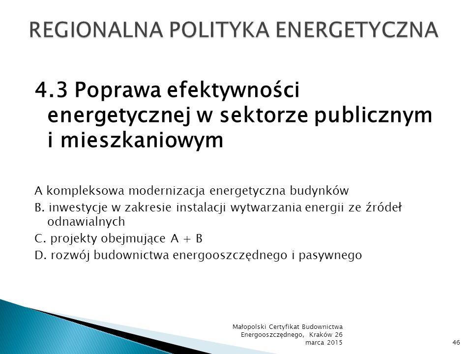4.3 Poprawa efektywności energetycznej w sektorze publicznym i mieszkaniowym A kompleksowa modernizacja energetyczna budynków B. inwestycje w zakresie