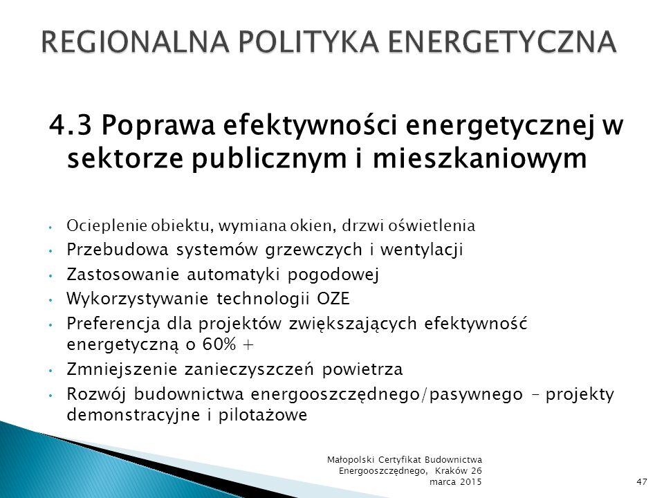 4.3 Poprawa efektywności energetycznej w sektorze publicznym i mieszkaniowym Ocieplenie obiektu, wymiana okien, drzwi oświetlenia Przebudowa systemów