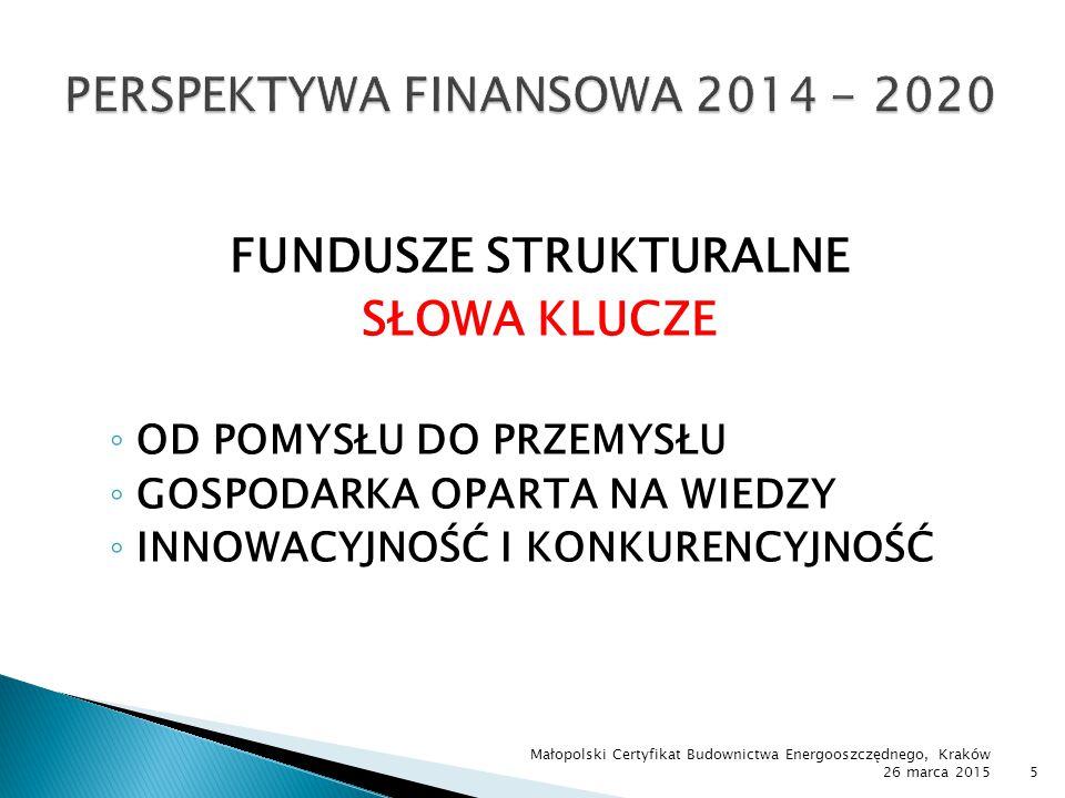  Rozwój i konkurencyjność ◦ Urządzenia wytwarzające  Energię elektryczną z wiatru, wody, biogazu i biomasy  Ciepło przy wykorzystaniu biomasy oraz energii geotermalnej i słonecznej  Energię elektryczną i ciepło w kogeneracji  Biokomponenty i biopaliwa Małopolski Certyfikat Budownictwa Energooszczędnego, Kraków 26 marca 201536