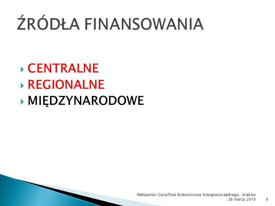 Małopolski Certyfikat Budownictwa Energooszczędnego, Kraków 26 marca 201557 ZakresTermin naborów Dofinansowanie w złInstytucja Kredyt na innowacje technologiczne IV kwartał 2015303 mlnBGK