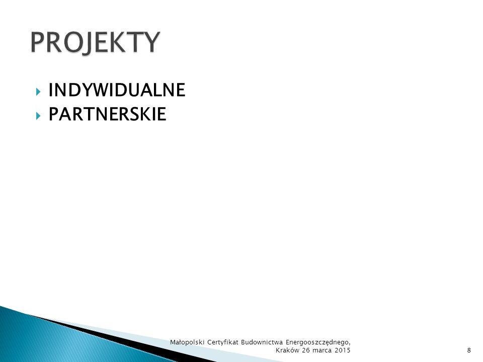  Zgodność z RSI  Wysoki potencjał wdrożeniowy – zakończenie zastosowaniem wyników w działalności gospodarczej  Wysoki poziom współpracy partnerów  Istotne znaczenie i zapotrzebowanie  Utrzymanie trwałości i efektów  Wysoki poziom gotowości technologicznej przed rozpoczęciem realizacji projektu  Priorytet dla MŚP  Duże przedsiębiorstwa – warunek = wpływ na gospodarkę, miejsca pracy, współpraca z MŚP Małopolski Certyfikat Budownictwa Energooszczędnego, Kraków 26 marca 201519