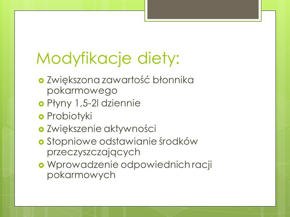 Modyfikacje diety:  Zwiększona zawartość błonnika pokarmowego  Płyny 1,5-2l dziennie  Probiotyki  Zwiększenie aktywności  Stopniowe odstawianie ś