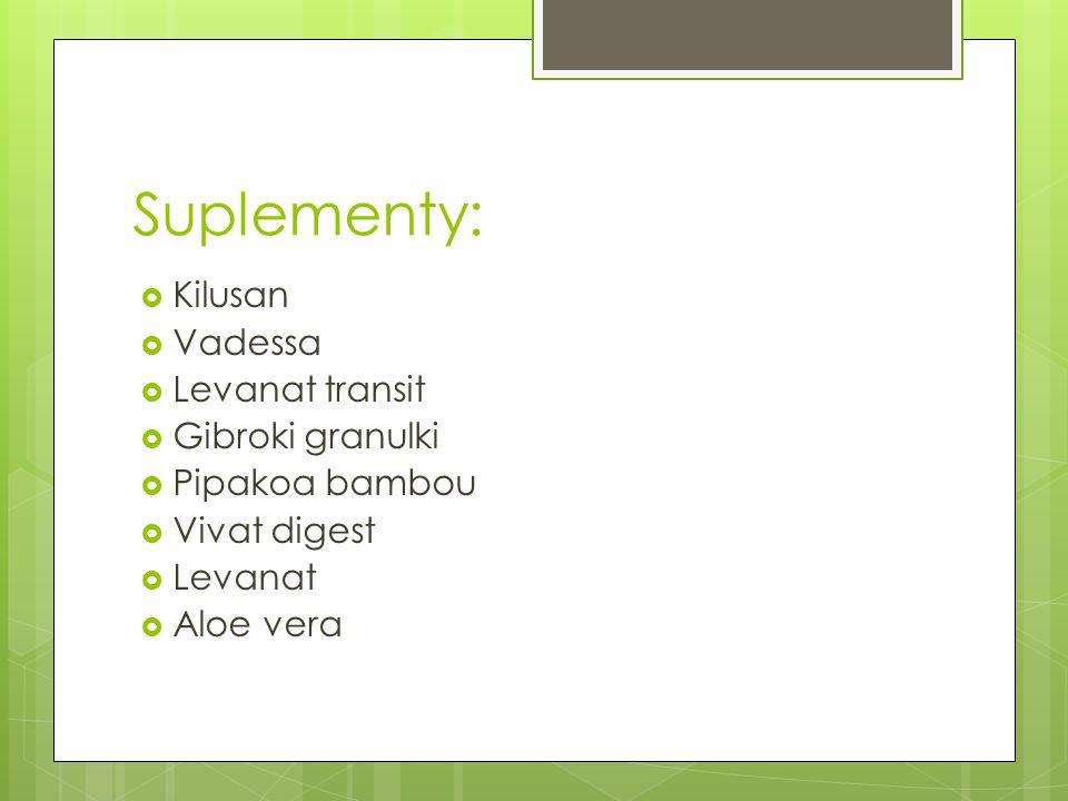 Suplementy:  Kilusan  Vadessa  Levanat transit  Gibroki granulki  Pipakoa bambou  Vivat digest  Levanat  Aloe vera
