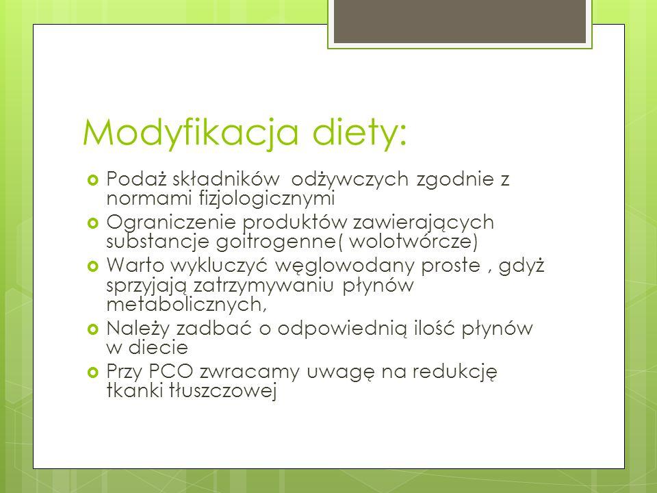Modyfikacja diety:  Podaż składników odżywczych zgodnie z normami fizjologicznymi  Ograniczenie produktów zawierających substancje goitrogenne( wolo
