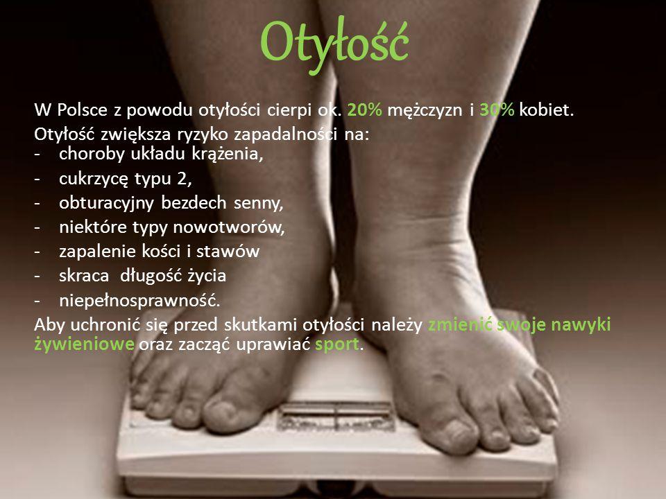 Otyłość W Polsce z powodu otyłości cierpi ok. 20% mężczyzn i 30% kobiet. Otyłość zwiększa ryzyko zapadalności na: - choroby układu krążenia, -cukrzycę