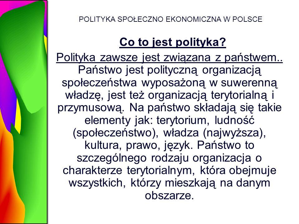 POLITYKA SPOŁECZNO EKONOMICZNA W POLSCE Co to jest polityka? Polityka zawsze jest związana z państwem.. Państwo jest polityczną organizacją społeczeńs