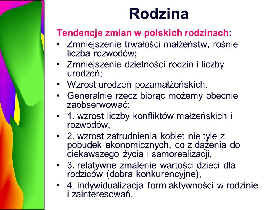 Rodzina Tendencje zmian w polskich rodzinach: Zmniejszenie trwałości małżeństw, rośnie liczba rozwodów; Zmniejszenie dzietności rodzin i liczby urodze